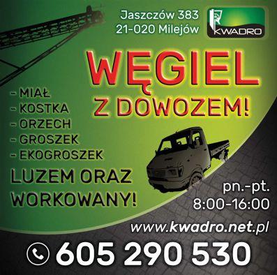 """""""KWADRO"""" to spółka zajmująca się sprzedażą węgla, dobieraniem i produkcją ekogroszków przeznaczonych do kotłów retortowych"""